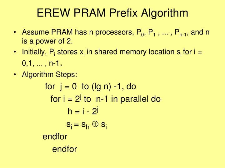 EREW PRAM Prefix Algorithm