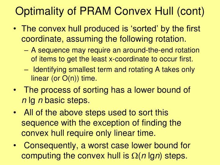 Optimality of PRAM Convex Hull (cont)