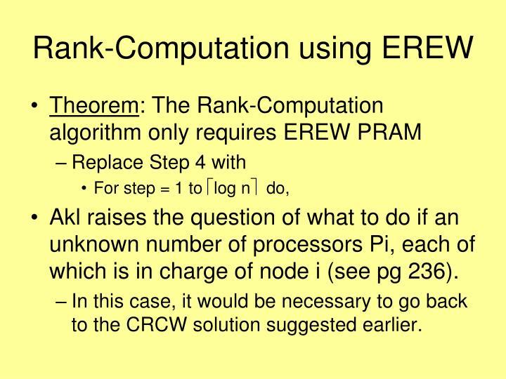 Rank-Computation using EREW