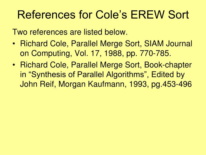 References for Cole's EREW Sort