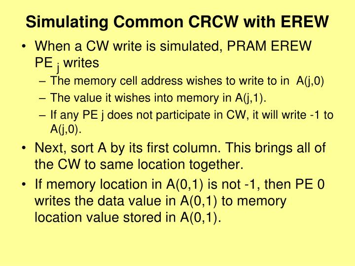 Simulating Common CRCW with EREW