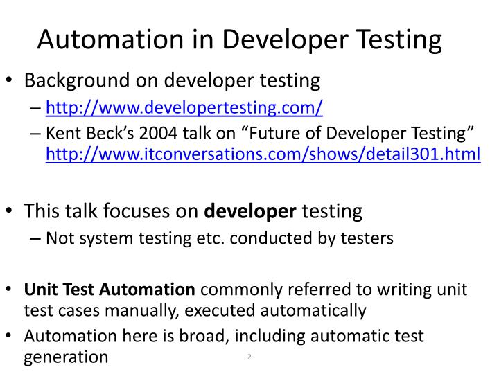 Automation in developer testing