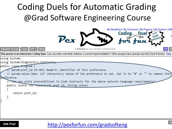 Coding Duels for Automatic Grading