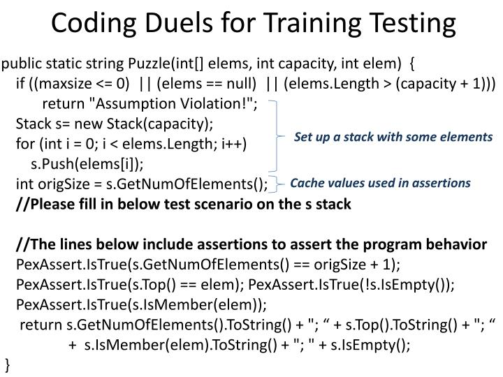 Coding Duels for Training Testing