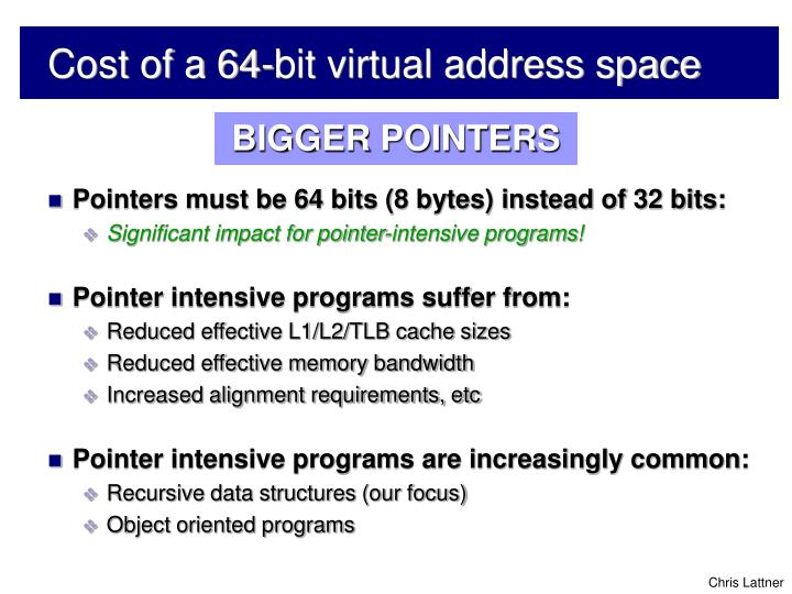 Cost of a 64 bit virtual address space