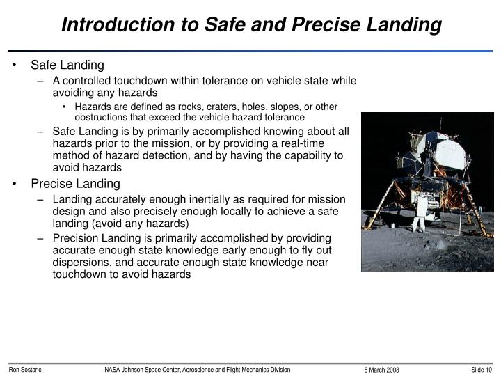 Introduction to Safe and Precise Landing