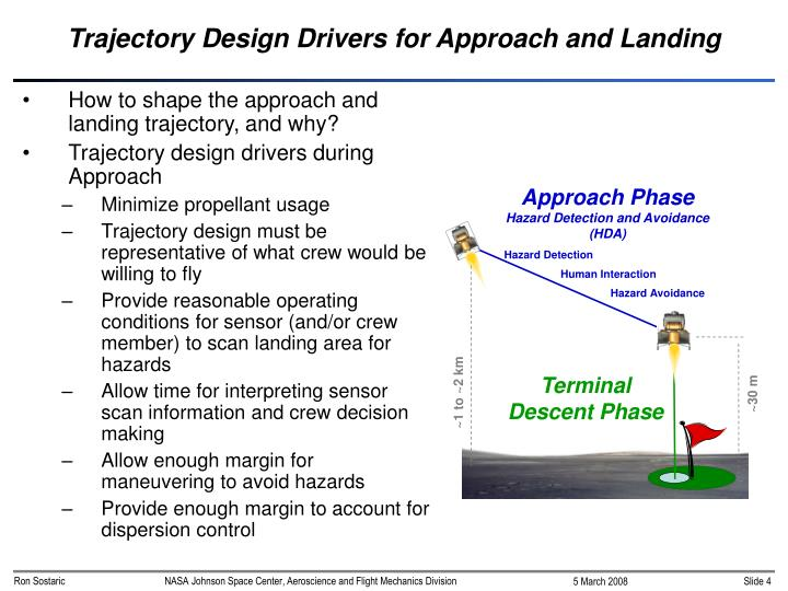 Trajectory Design Drivers for Approach and Landing