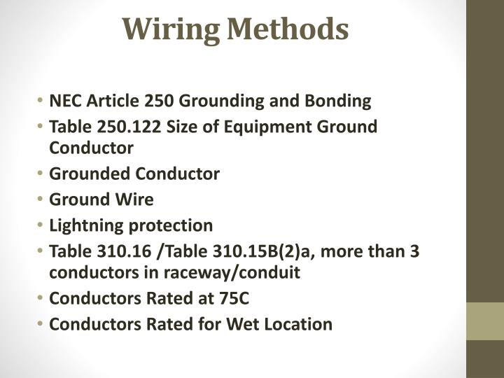 Ground wire size nec gallery wiring table and diagram sample book ppt pump station electrical design powerpoint presentation id wiring methods nec article 250 grounding keyboard keysfo greentooth Choice Image