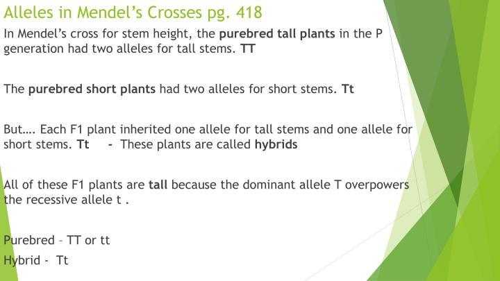 Alleles in Mendel's Crosses pg. 418