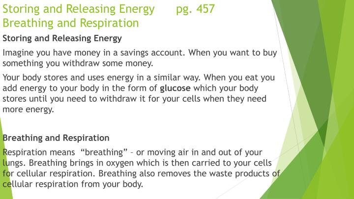 Storing and Releasing Energy      pg. 457