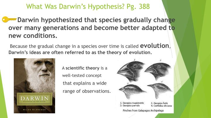 What Was Darwin's Hypothesis? Pg. 388