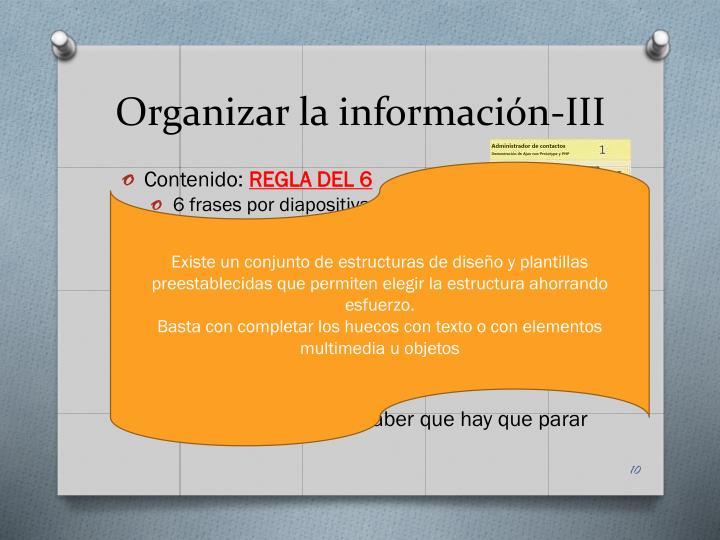Organizar la información-III