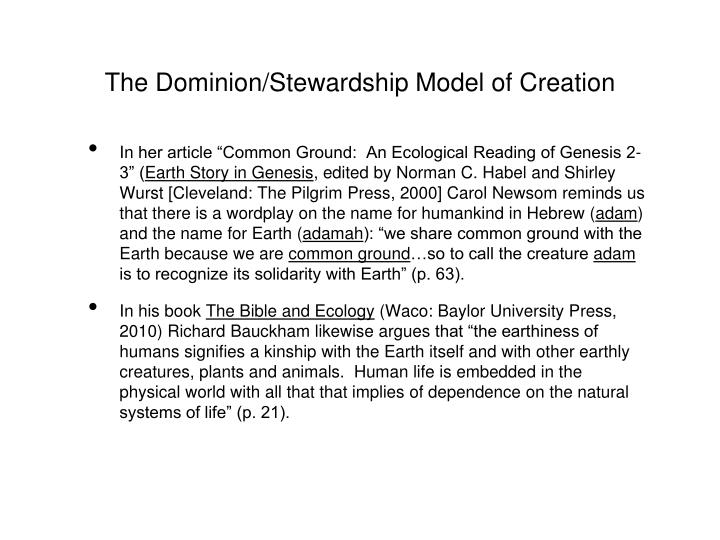 The Dominion/Stewardship Model of Creation