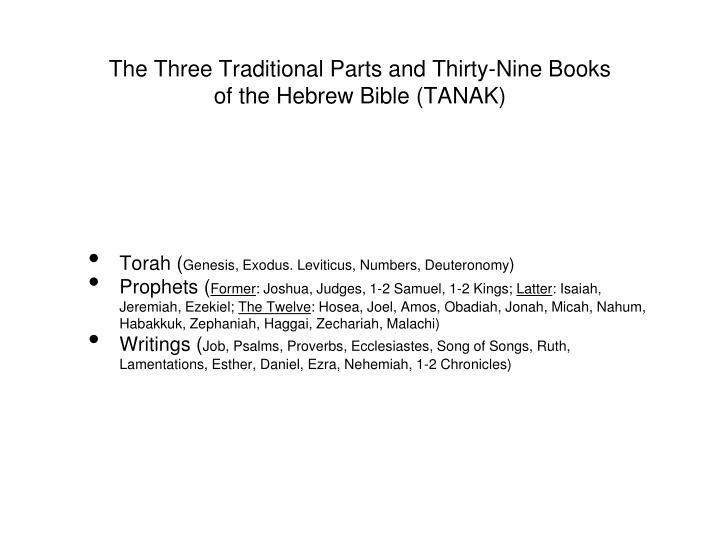 The Three Traditional Parts and Thirty-Nine Books