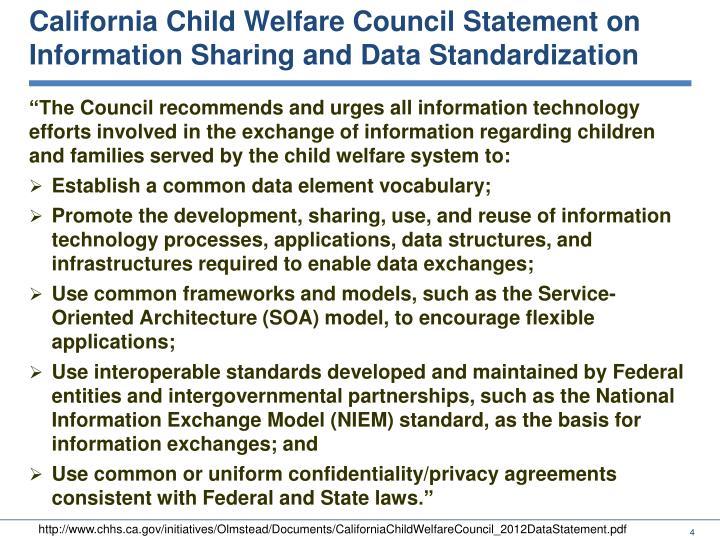 California Child Welfare Council Statement on Information Sharing and Data Standardization