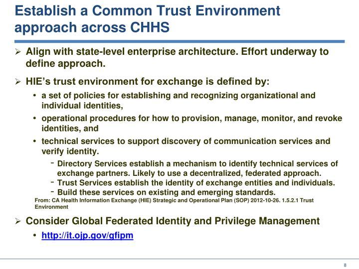 Establish a Common Trust Environment
