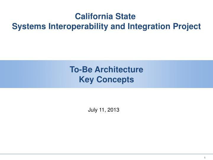 To be architecture key concepts