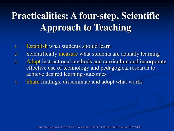 Practicalities: A four-step, Scientific Approach to Teaching