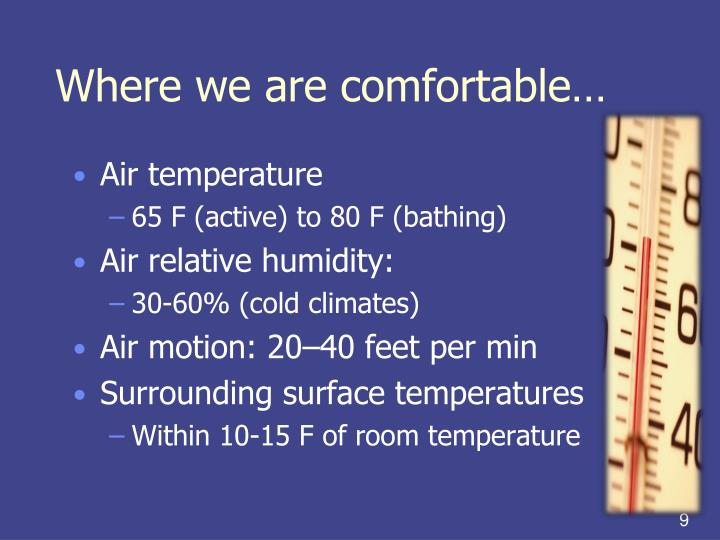 Where we are comfortable…