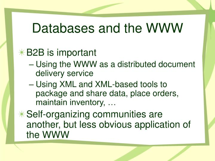Databases and the WWW