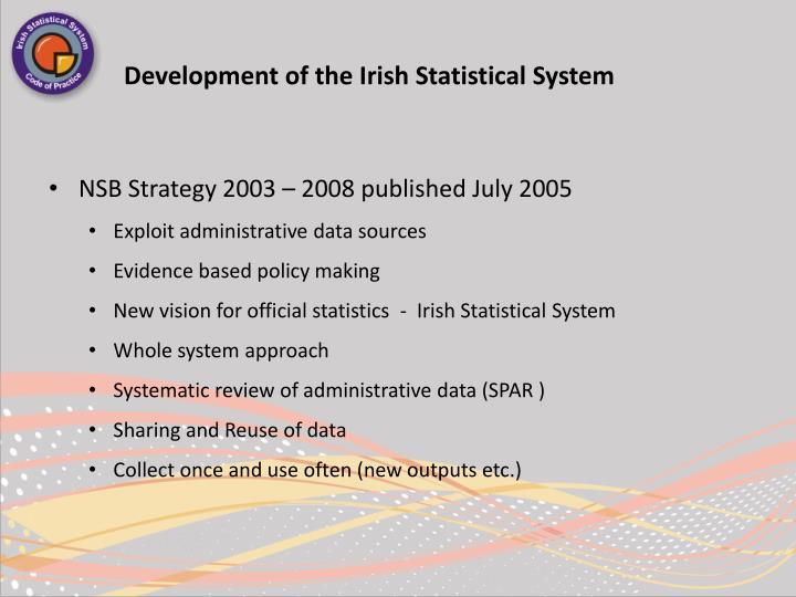 Development of the irish statistical system