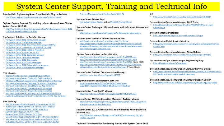 system center support training and technical info n.