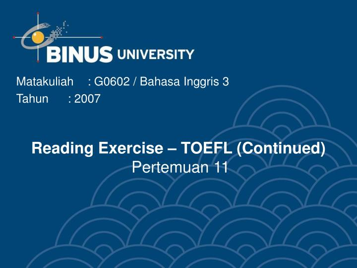 photograph about Toefl Exercises Printable called PPT - Looking through Fitness TOEFL (Ongoing) Pertemuan 11