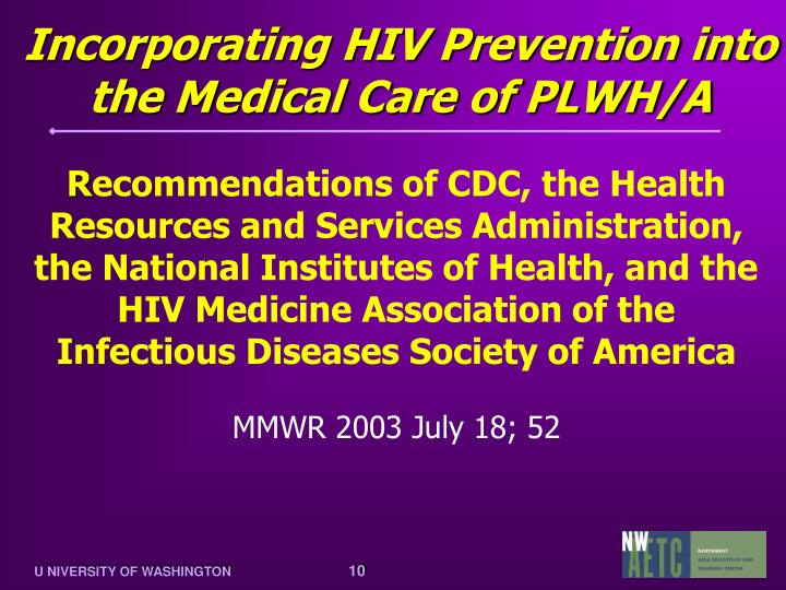 Incorporating HIV Prevention into the Medical Care of PLWH/A