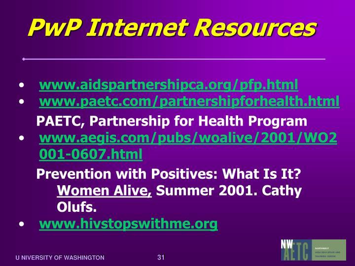 PwP Internet Resources