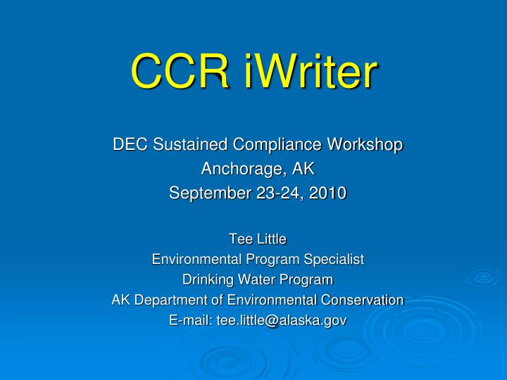 ccr iwriter n.