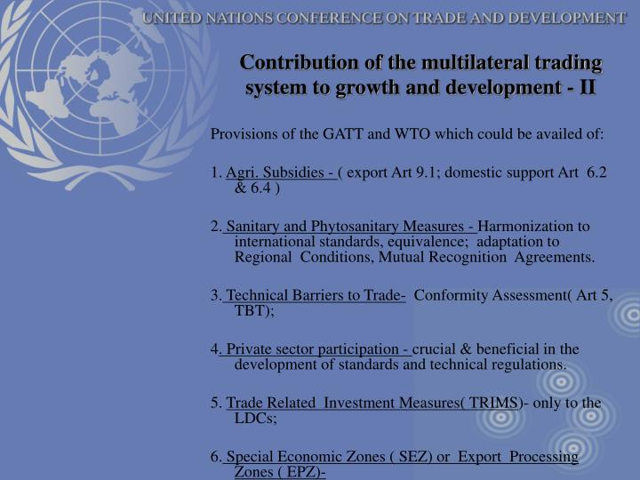 Contribution of the multilateral trading