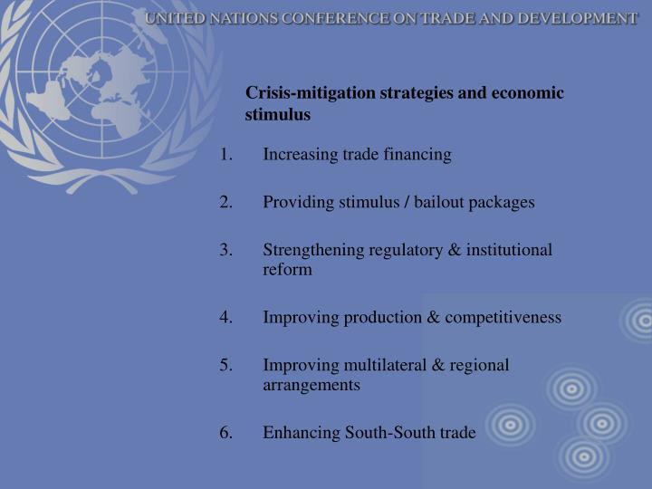 Crisis-mitigation strategies and economic stimulus