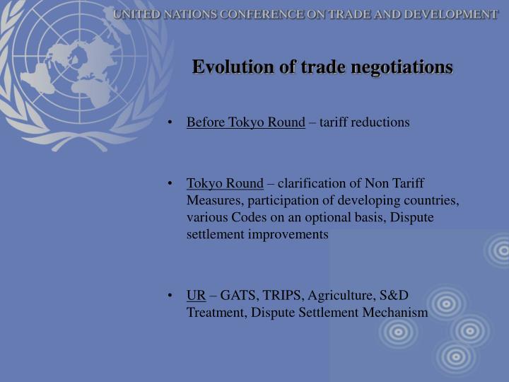 Evolution of trade negotiations