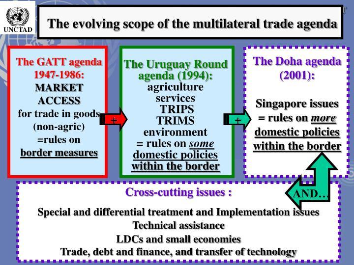 The evolving scope of the multilateral trade agenda