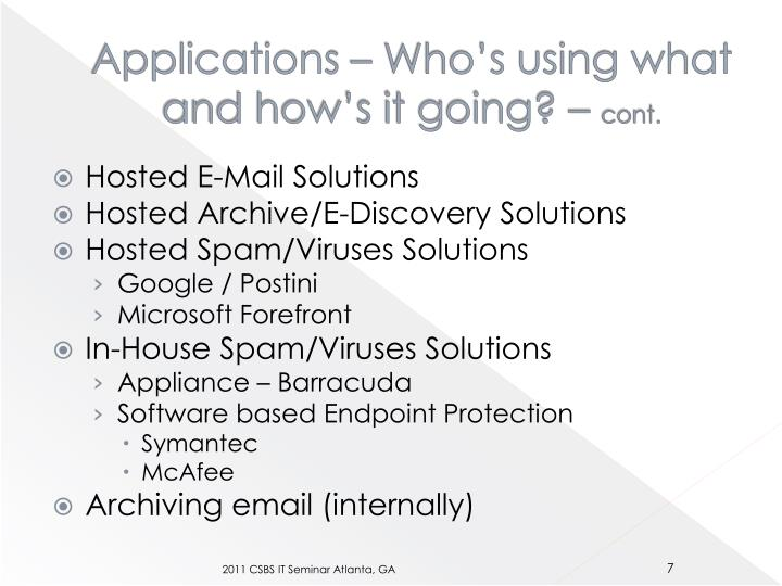Applications – Who's using what