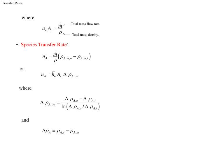 Total mass flow rate.