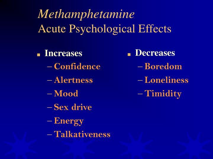 Methamphetamine acute psychological effects