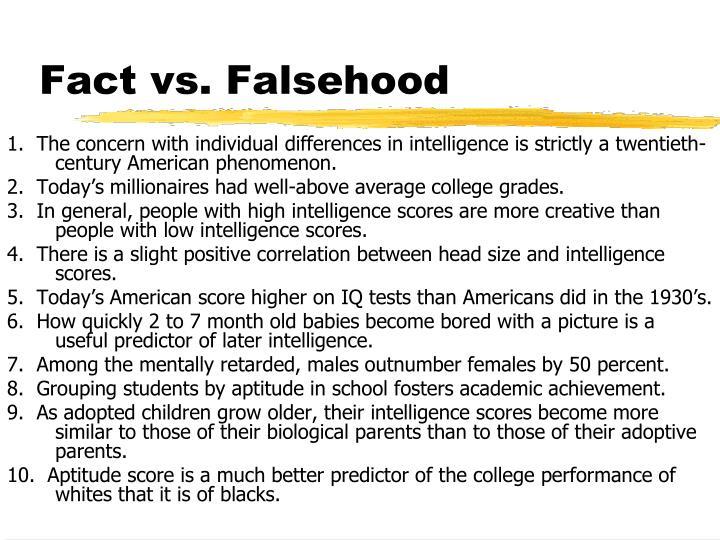 Fact vs falsehood