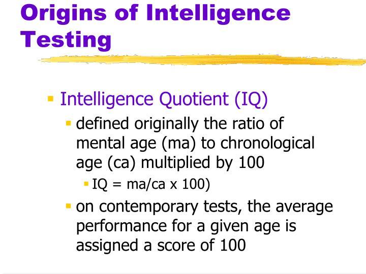 Origins of Intelligence Testing