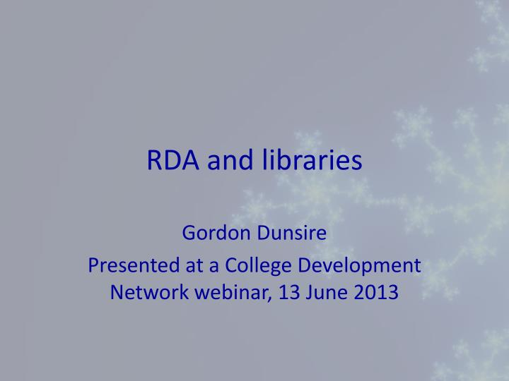 rda and libraries n.