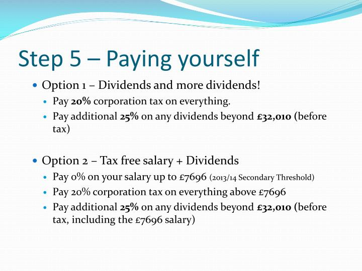 Step 5 – Paying yourself