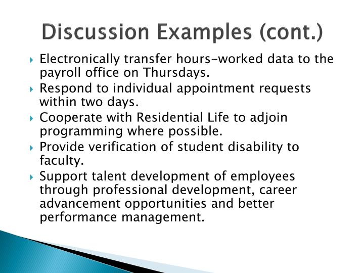 Discussion Examples (cont.)