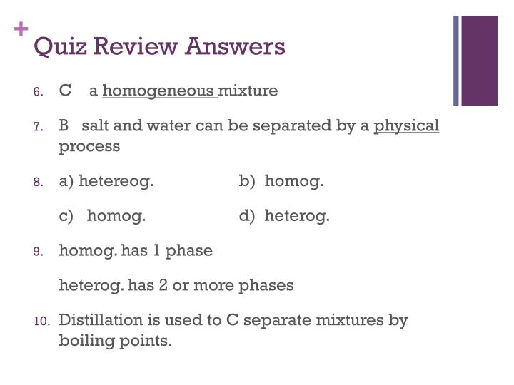 Quiz Review Answers