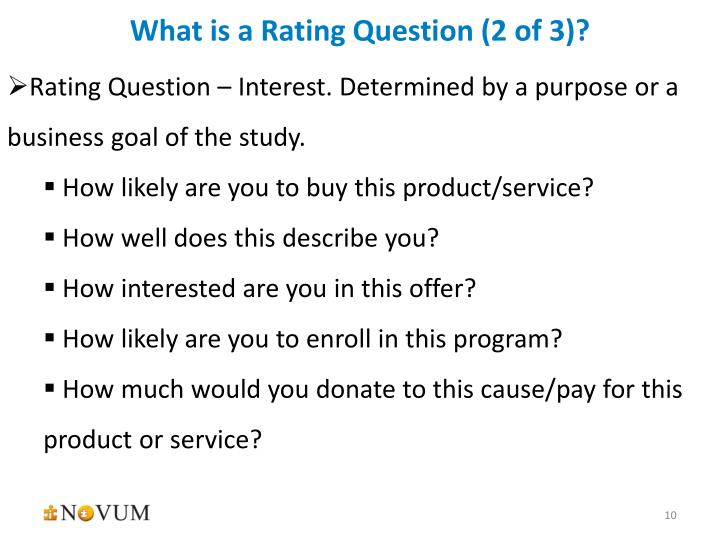 What is a Rating Question (2 of 3)?