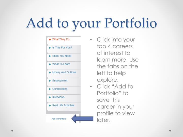 Add to your Portfolio