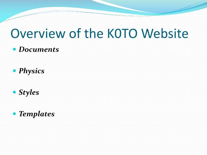 Overview of the K0TO Website