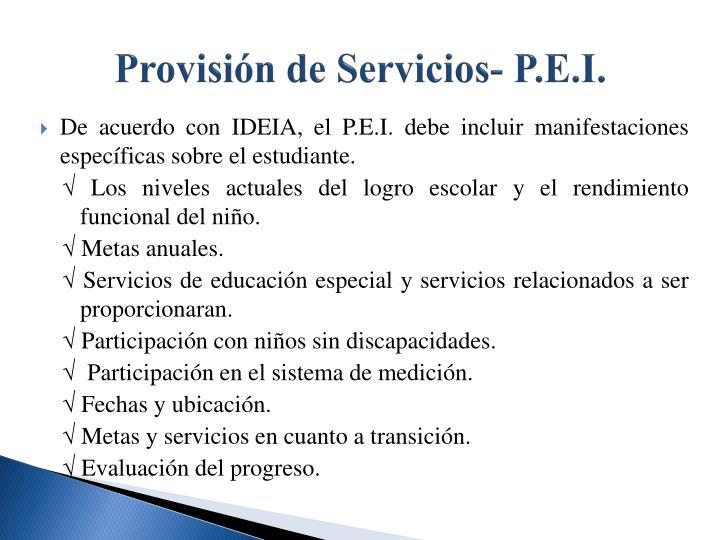 Provisión de Servicios- P.E.I.
