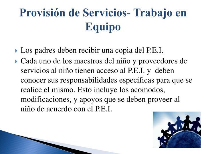 Provisión de Servicios- Trabajo en Equipo