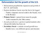 deforestation fed the growth of the u s