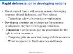 rapid deforestation in developing nations